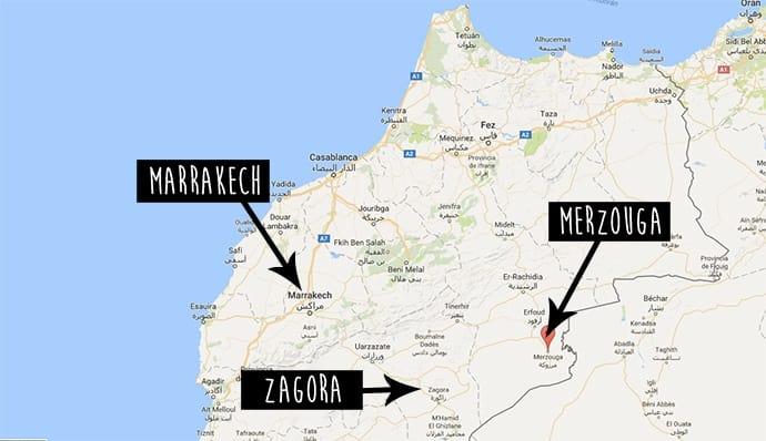 Mapa desierto de Marruecos