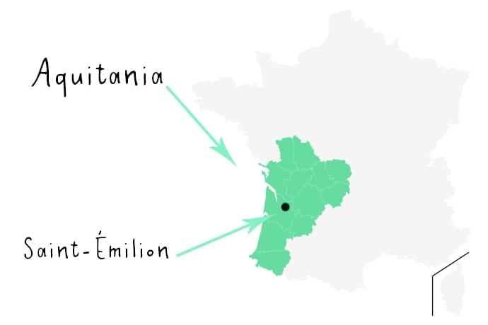Mapa de Aquitania en Francia