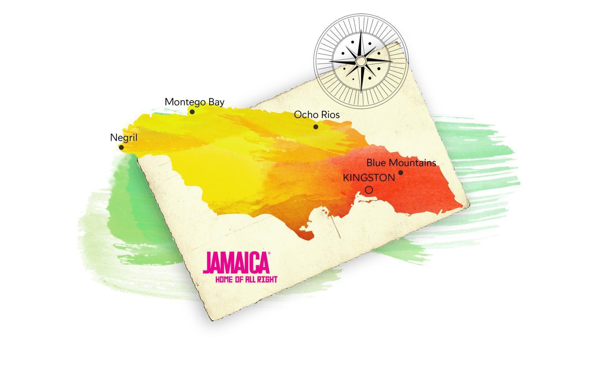 Mapa de Jamaica en el Caribe
